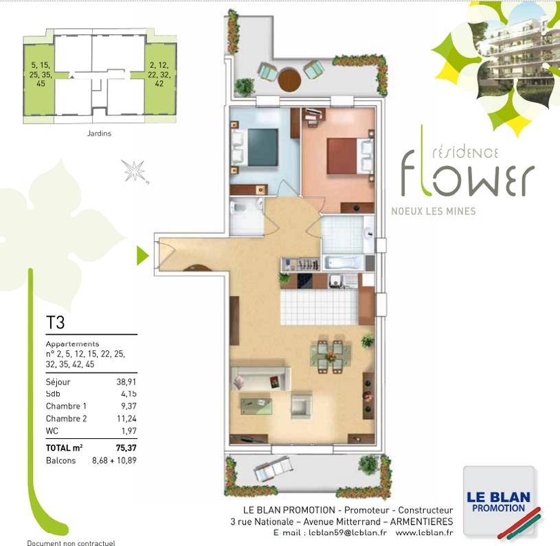 flower appartement neuf pas de calais le blan promotion. Black Bedroom Furniture Sets. Home Design Ideas